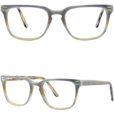 1d8239de931 Image Unavailable. Image not available for. Color  Square Men s Womens  Plastic Frames Gray Acetate Eyeglasses Glasses Spring Hinges