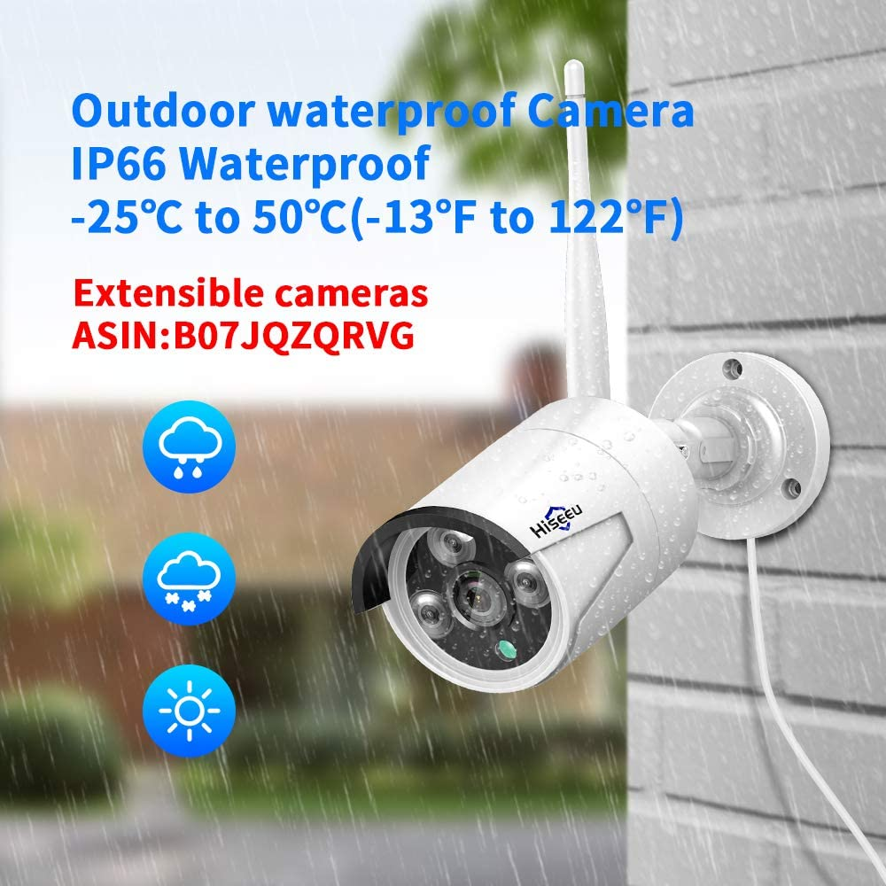 8CH Expandable No Hard Drive Hiseeu Wireless Security Camera System With One-Way Audio,HD Video Security System 4Pcs 1080P 2.0MP IP Security Cameras Wireless Indoor//Outdoor IR Bullet IP Camera WiFi