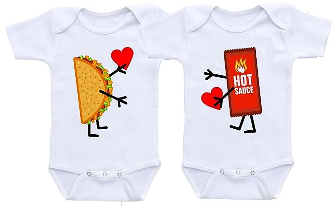 Manta Unisex Taco & Hot Sauce Twins Baby Shower Onesie Bodysuit (0-6 Months