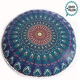 Mandala Pouf (Cover + Insert, Blue Peacock)