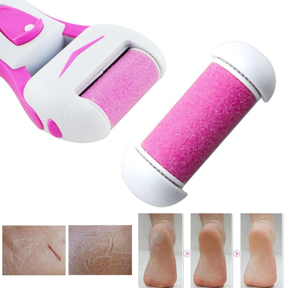 Electric Callus Remover Shaver Exfoliating Foot Hard Dry Skin Remover Tool Skin-smoothing Pedicure Kit (Rose)