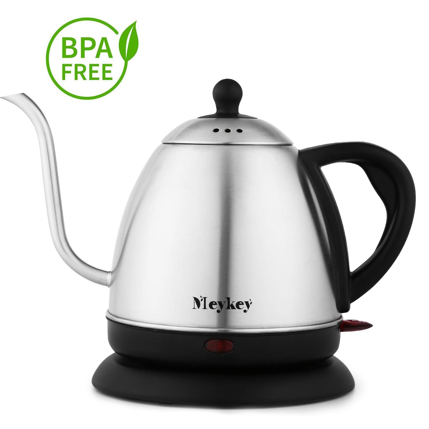 MeyKey Electric Kettle, Hot Water Kettle 1.0 Liter Stainless Steel Gooseneck Tea Kettle 1000W with Auto Shut-off and Boil Dry Protection