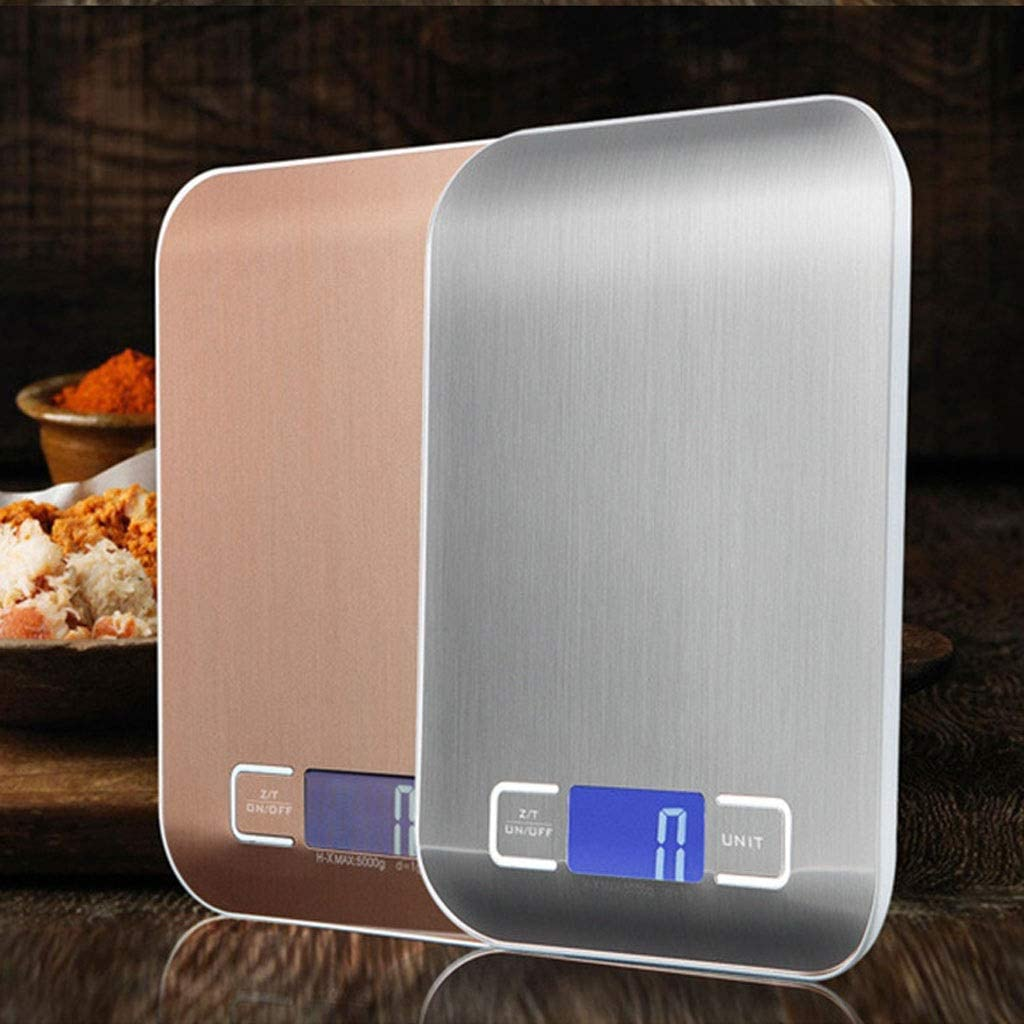Love lamp Báscula de Cocina doméstica de 10 kg Báscula electrónica de Alimentos Báscula de Dieta Herramienta de medición Slim LCD Digital Báscula electrónica XNC (Color : Gold) Silver