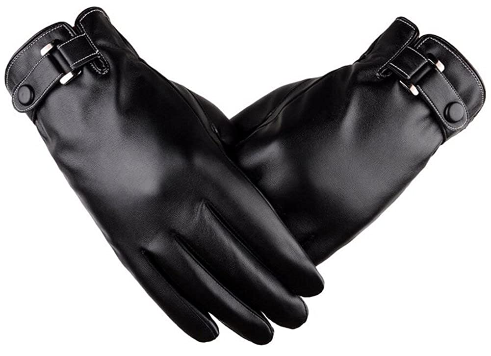 Man's Winter Autumn Black Brown PU Leather Plus Thick Velvet Touch Screen Gloves