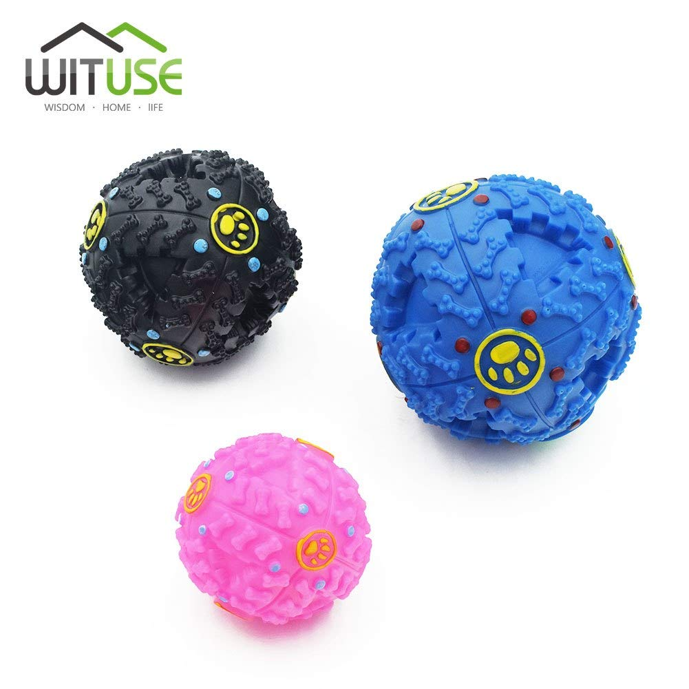 3colors S M L Size Giggle Ball Pet Puppy Dog Toys Fun Squeak Ball Biting Chewing Sound Training Toy Chew Ball Food Dispenser