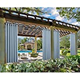 Macochico Sky Blue Outdoor Curtains 84W x 102L for Patio Gazebo Cabana Library Hotel Club Classroom Kids Room Water Repellent Blackout Drapes Dustproof Thermal Insulated Noise Buffer(1 Panel)