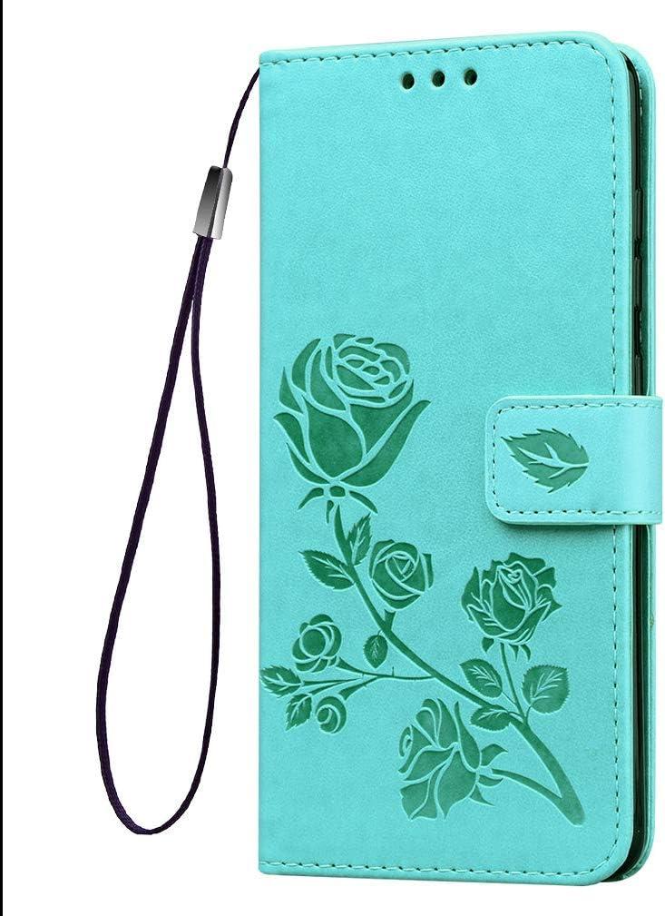HAOYE Funda para Sony Xperia L4 Funda, Suave PU Cuero Flip Carcasa Case Cover, Cubierta Magnética en Relieve de la Rosa, Billetera con Soporte/Tapa Tarjetas. Verde