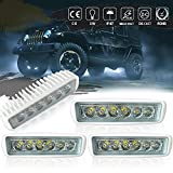 "Deck Spreader marine Grill Reverse Hidden Bumper Work Light Bar 6""Spot Straight Fog LED Light DRL Backup Driving Pods for Snowblower Suburban Side By Side Motorhome Commander Yamaha Bike Truck Offroad"