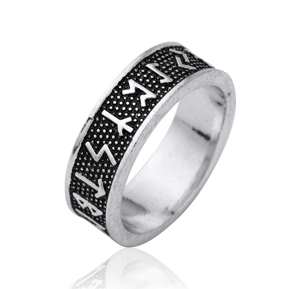Vintage Rock punk Rune Wicca Black Norse Viking Mythology Handmad anello Dimensioni gioielli (7.5) YI WU KE JI
