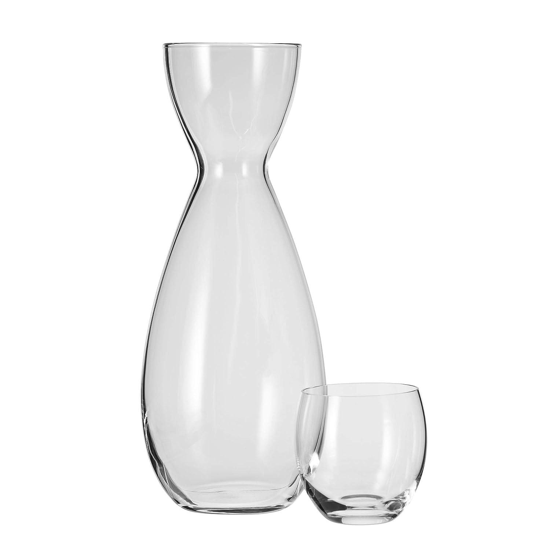 KROSNO 749-1 No-Drip Water Carafe & Drinking Glass, 1100 ml / 220 ml (37 oz. / 7.4 oz.), Clear