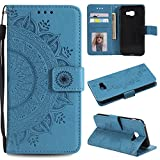 Galaxy A3 2017 Floral Wallet Case,Galaxy A3 2017 Strap Flip Case,Leecase Embossed Totem Flower Design Pu Leather Bookstyle Stand Flip Case for Samsung Galaxy A3 2017-Blue
