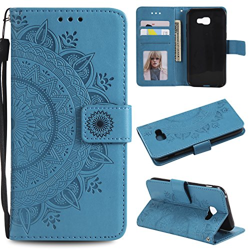 Galaxy A3 2017 Floral Wallet Case,Galaxy A3 2017 Strap Flip Case,Leecase Embossed Totem Flower Design Pu Leather Bookstyle Stand Flip Case for Samsung Galaxy A3 2017-Blue by Leecase