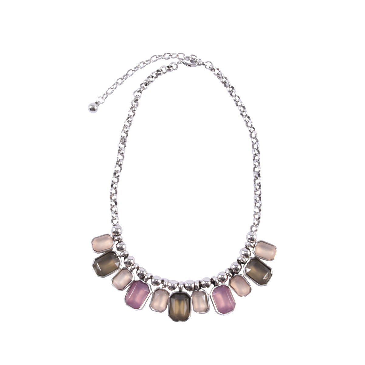 Silver Tone Smoky Brown Lavender Beige Bib Statement Necklace