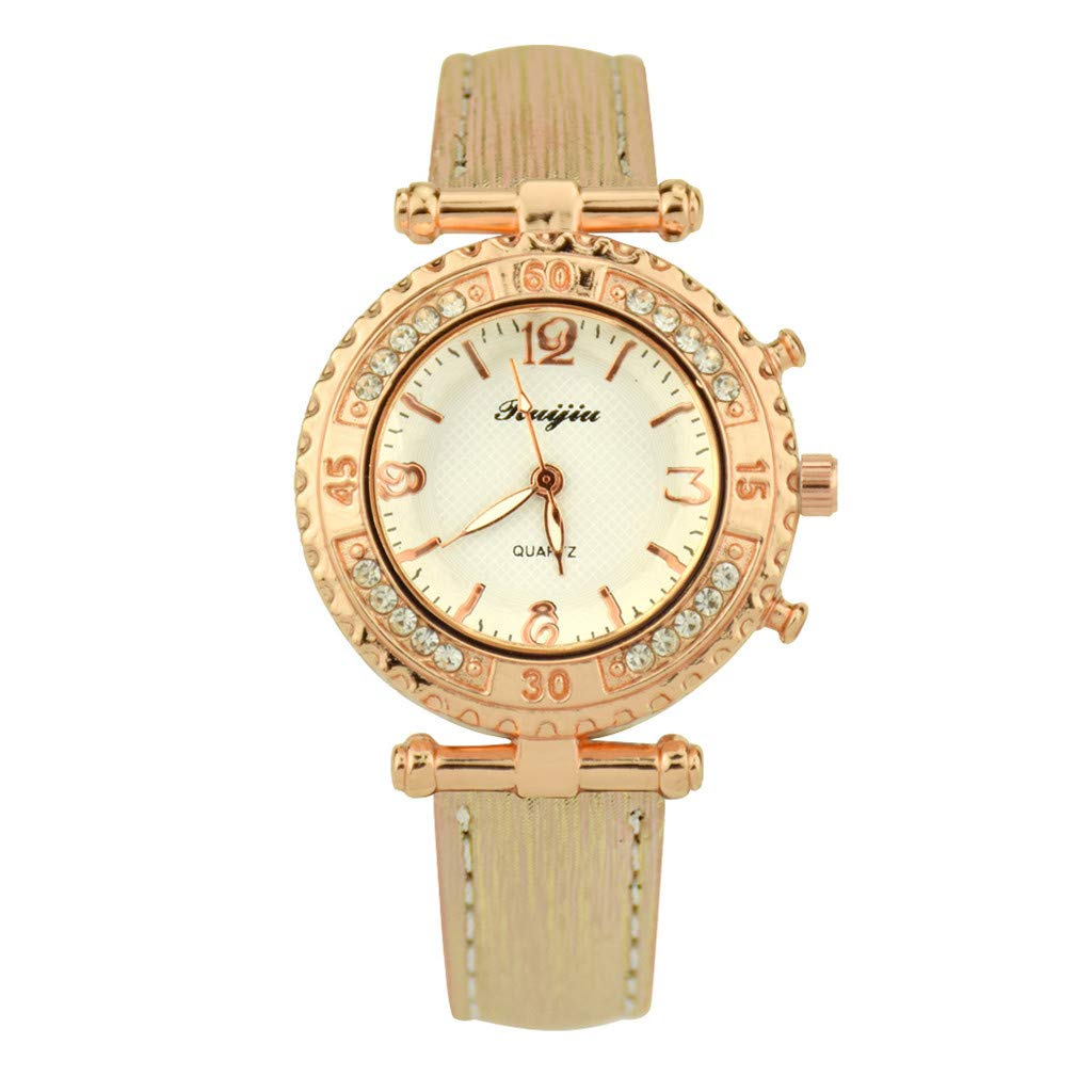 Starry Sky Watch for Women, Crystal Dial Analog Quartz Wristwtach with Suede Pu Leather Band BravetoshopLS-27(Gold)