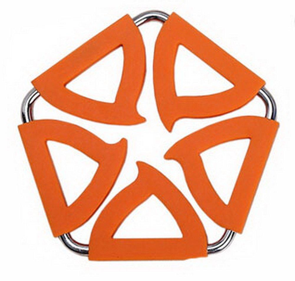 Panda Superstore Pentagon Stainless Steel Silicon Potholders Pot Holder, Heat-proof Mat(Orange)