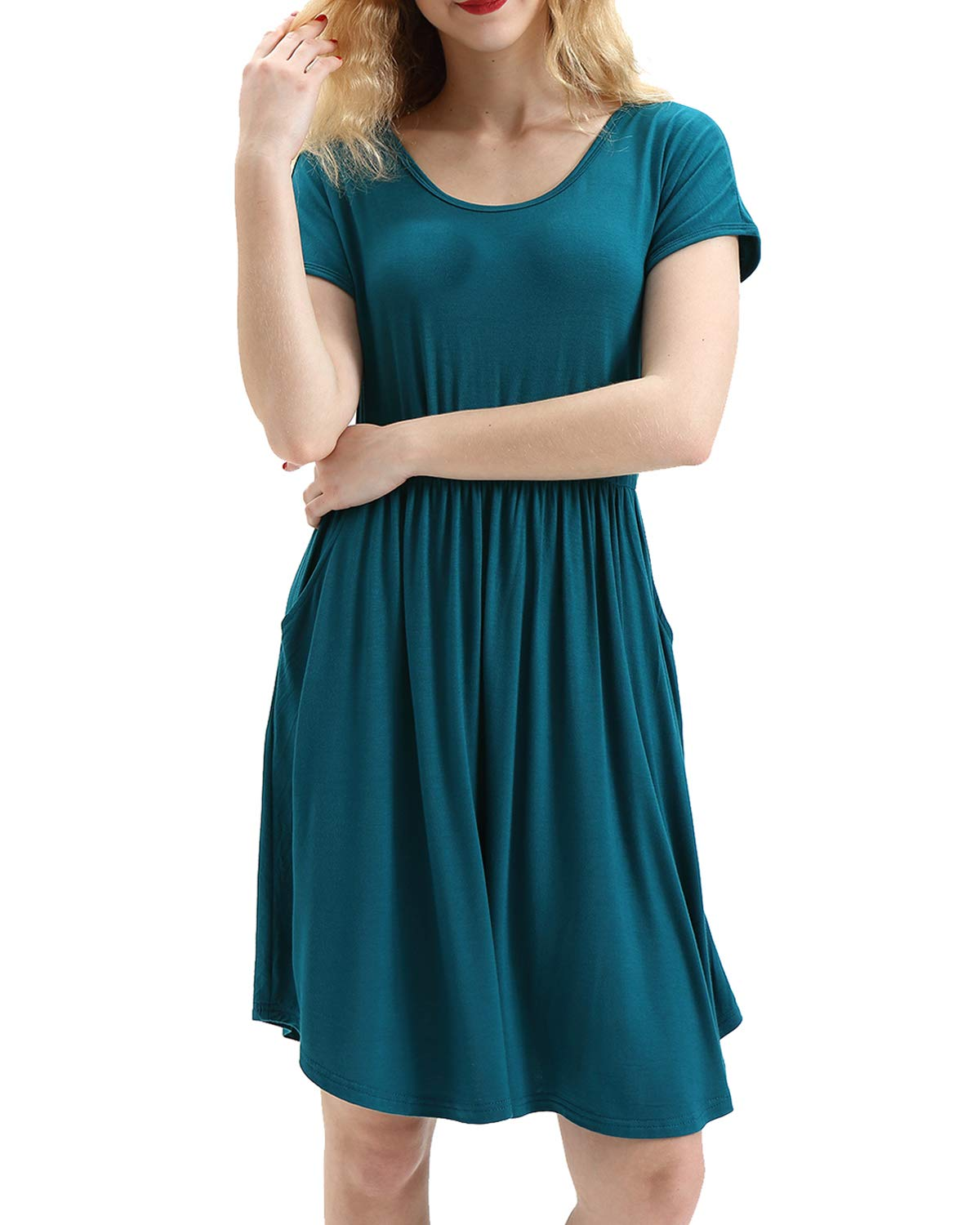 HUALAIMEI Pleated Dresses for Women, Ladies Scoop Neck Short Sleeve Vintage Midi Dress Casual Long Tunic with Pockets Knee Length Shirts Dark Cyan L