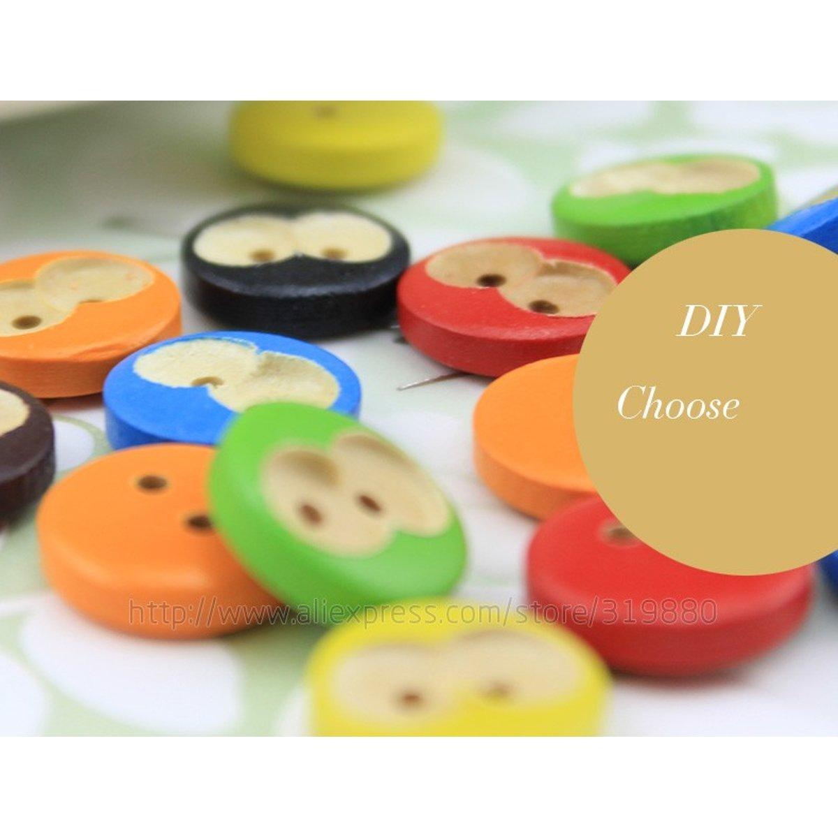 HDTTCX - Botones de madera para manualidades - Botones de madera para coser - 50 piezas de botón de dibujos animados de mono, impresión de 2 agujeros ...