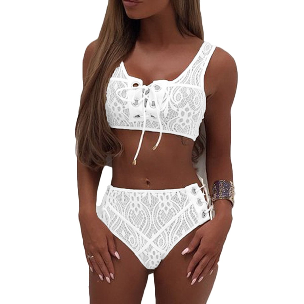 Almaree Womans Lace up Front High Waist Two Piece Bikini Set Lace Swimsuit White XL