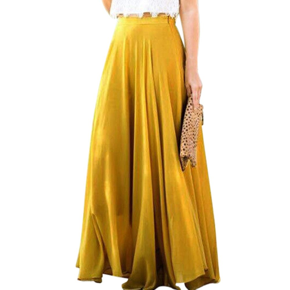 Chaofanjiancai Women Casual Elastic Waist Solid Pleated Skirt Vintage A-line Loose Long Skirts