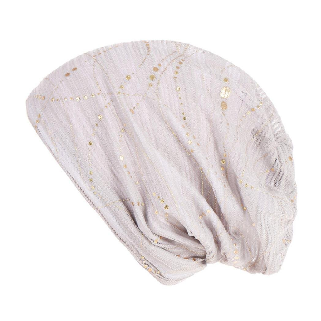 CSSD Women Solid Color Bead Muslim Hat Stretch Retro Turban Hats Easy to Carry Head Wrap Caps (White)