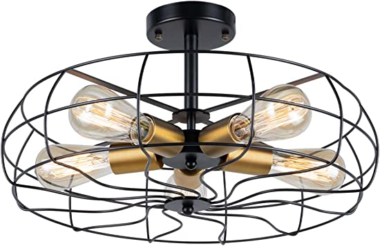 Semi Flush Mount Ceiling Light Vintage Pendant Lights Industrial Chandelier Black Metal Cage Hanging Fixture with 5 E26 Bulb Base Fan Style