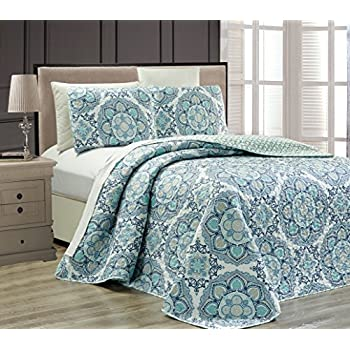 Fancy Collection 3 Pc Bedspread Bed Cover Modern Reversible White Navy Blue  Light Blue New # Linda Blue (King)