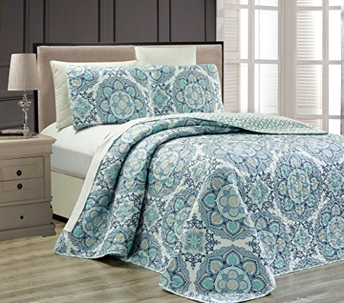 Fancy Collection 3 pc Bedspread Bed Cover Modern Reversible White Navy Blue Light Blue New # Linda Blue Full/Queen Over Size 106