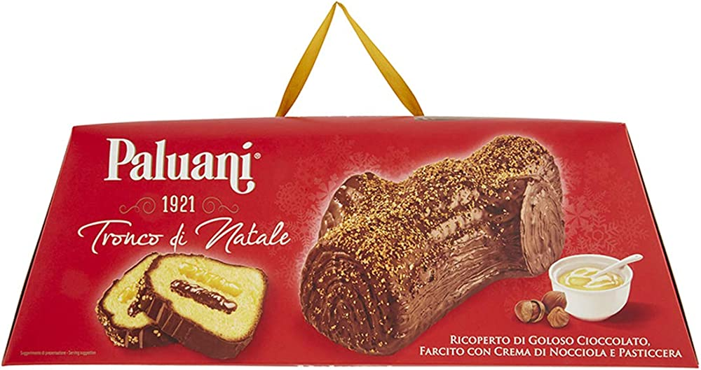 Tronco di natale paluani ricoperto di cioccolato  ripieno con crema di nocciola e crema pasticciera B017Q9KUR0
