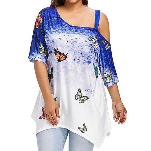 de5d22e9d28ee5 Women's Plus Size Tops, Leedford Women Butterfly Print Irregular Hem Short  Sleeve Tops Pullover T