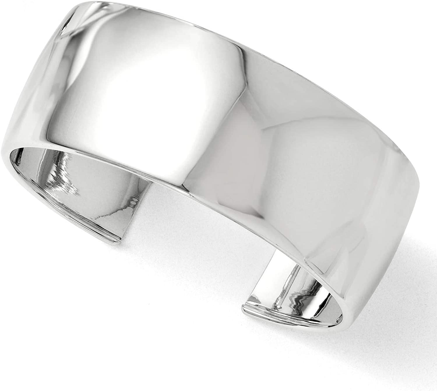 925 Sterling Silver Rhodium-plated Polished Slip-on Cuff Bangle Bracelet by Leslies