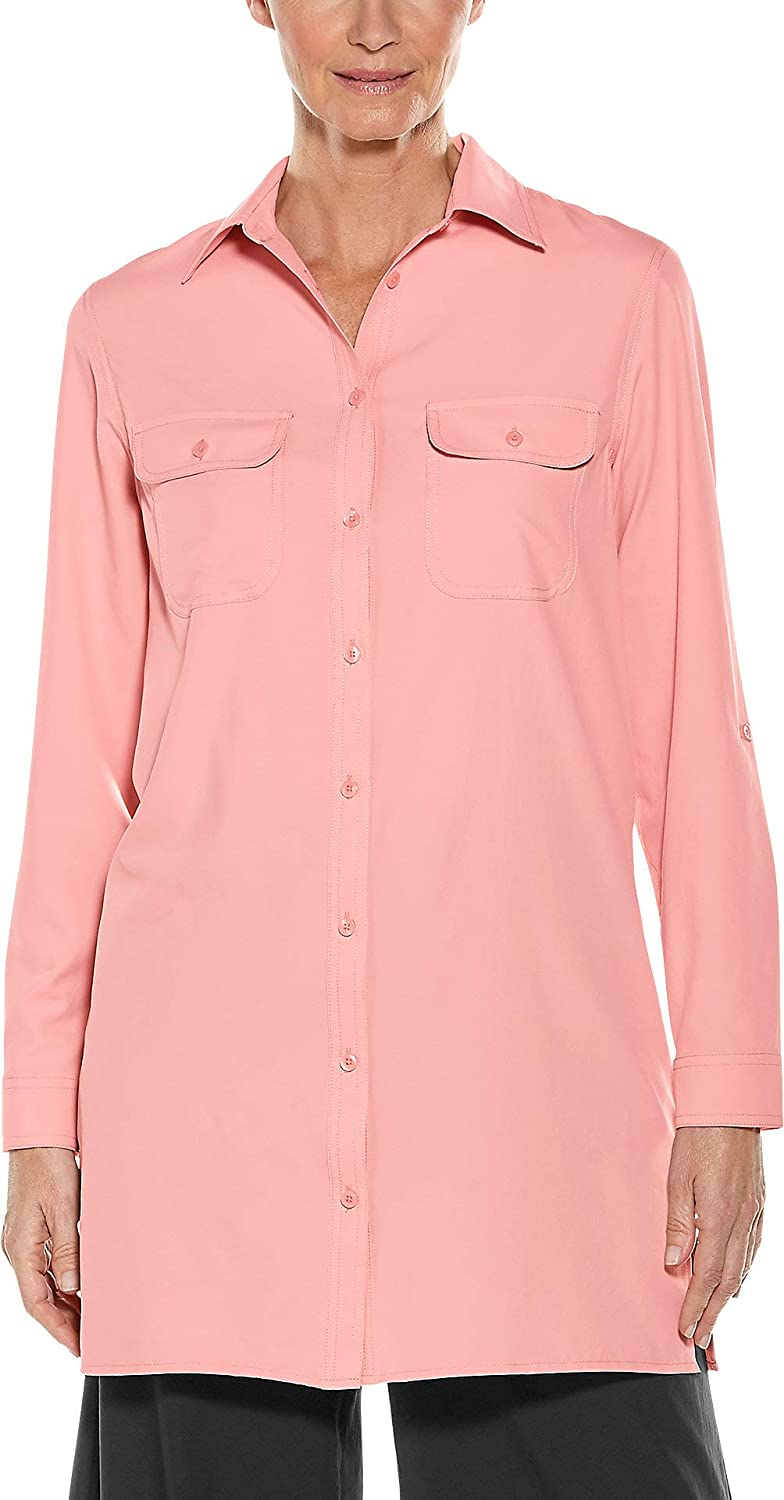 bluesh Pink Coolibar UPF 50+ Women's Santorini Tunic Shirt  Sun Predective (Medium Ice bluee)