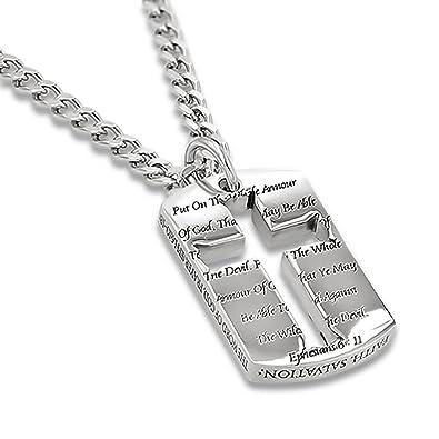 Amazon.com: Candado armadura de Dios Cruz collar de plata ...
