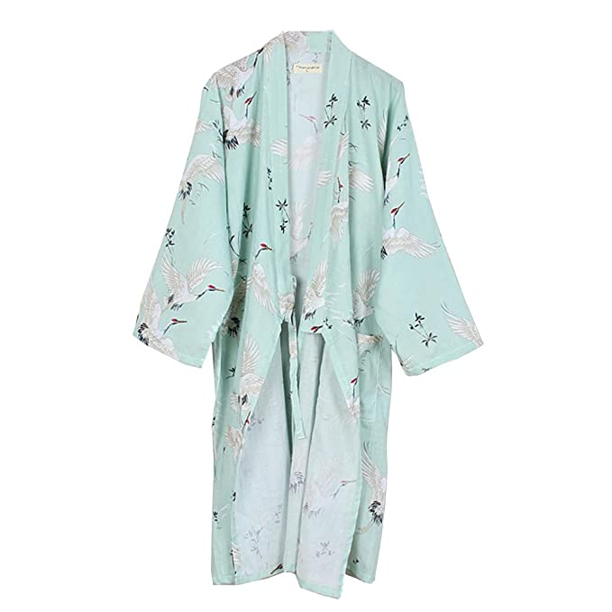 Vestido camisero de algodón japonés para mujer Kimono Pijama camisón-grúa A
