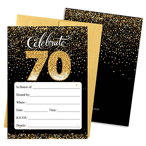 70th Birthday Party Invitation Cards with Envelopes, 25 Count (Black and Gold)