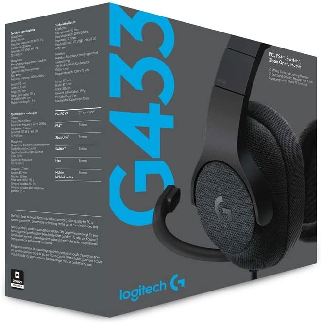 Logitech G433 Wired Gaming Headset Surround Sound for Black
