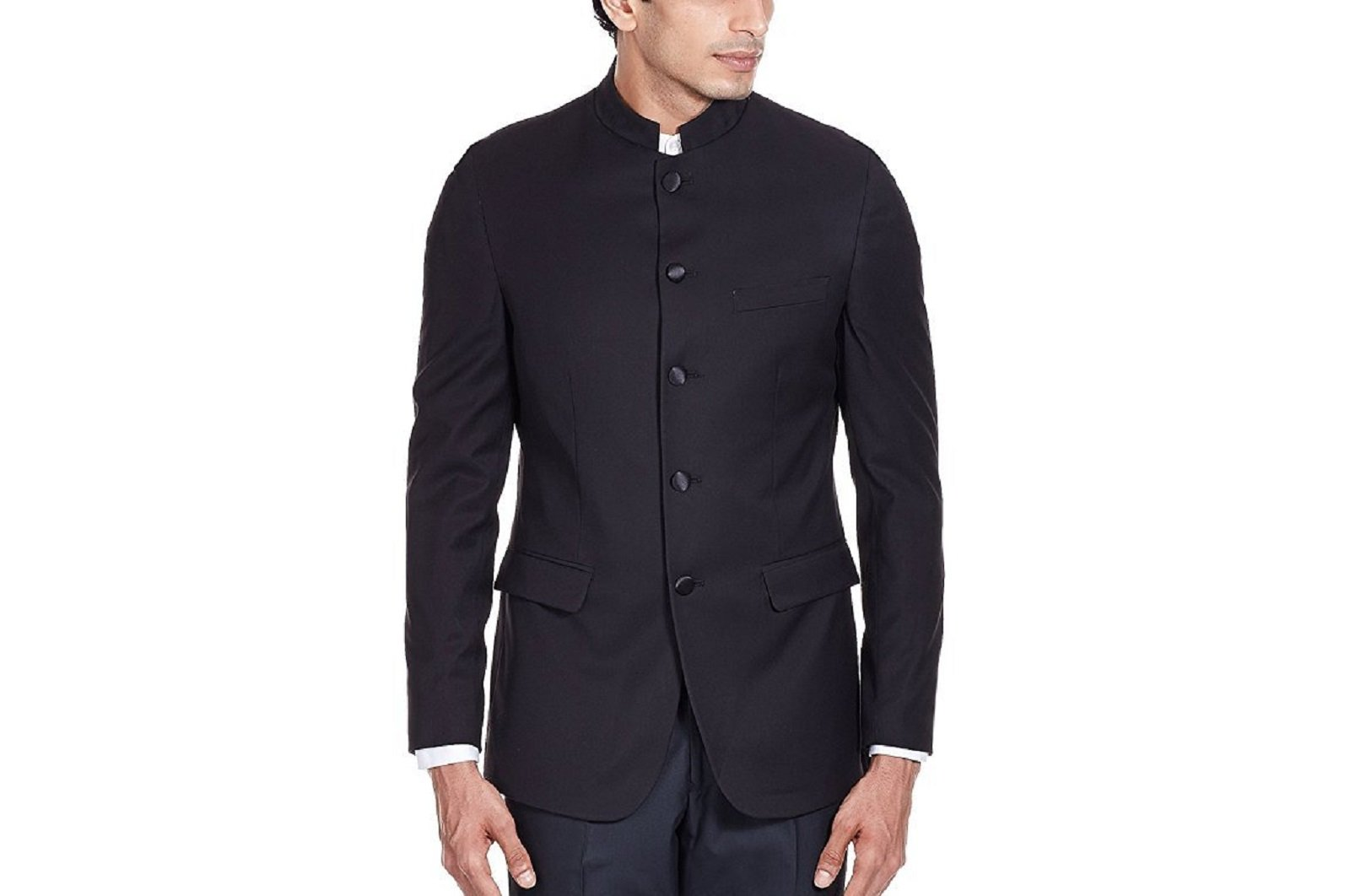 Royal Men's Black Polyviscose Granddad Collar Business Jacket (36, Black)