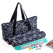 166 Tiles American Mahjong Set Blue Phoenix Soft Bag 4 Color Pushers/Racks Easy Carry Western Mahjongg