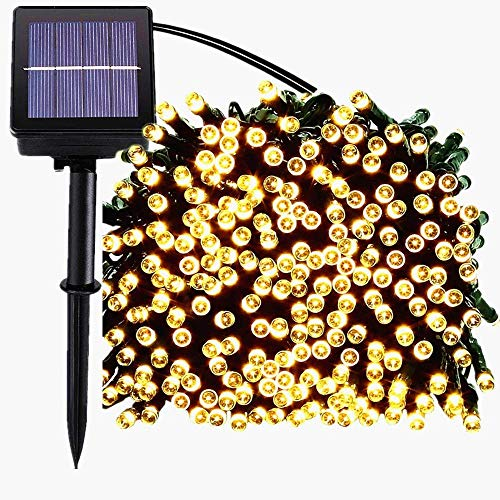 kilokelvin Waterproof Outdoor Solar String Lights 200 LED 72FT, 8-in-1 Mode for Christmas, Home, Garden, Yard, Porch, Tree, Party, Holiday Decoration-Warm White