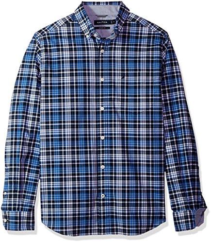 Nautica Men's Standard Ls Wrinkle Resistant Stretch Poplin Plaid Button Down Shirt, Maritime Navy, Medium