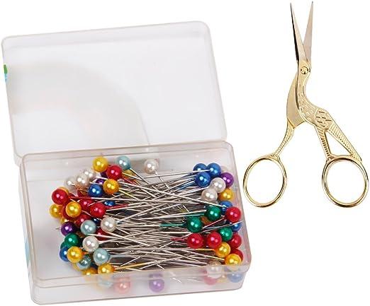 80pcs Coloré Tête Perlée Couture Couture Pins /& 1Pc Vintage Sissor Craft