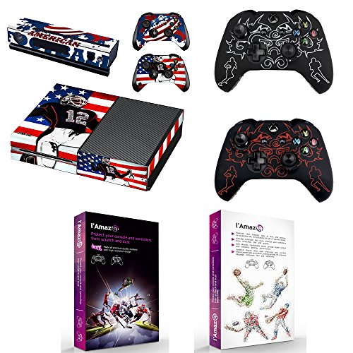 (L'Amazo Custom Protective XBOX ONE Skins Bundle Gift Set of console Vinyl decals stickers and 2x controller silicone cover cases in retail Box Gamer Kit American Football)