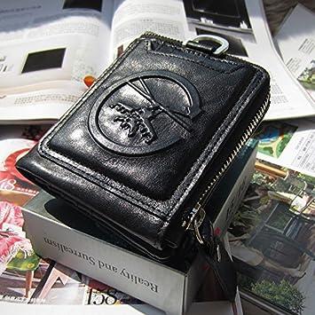 Monederos vintage artesanal cera short bi-hombre de cartera de cuero cuero carteras para hombres,vertical negro clásico: Amazon.es: Deportes y aire libre