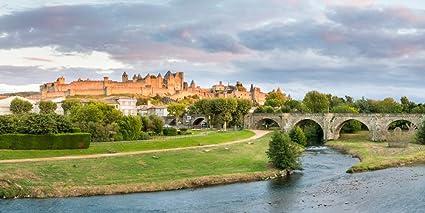Panoramic Images – Cite De Carcassonne seen from Pont Neuf Carcassonne Aude Languedoc-Roussillon France Photo Print (30,48 x 91,44 cm): Amazon.es: Hogar