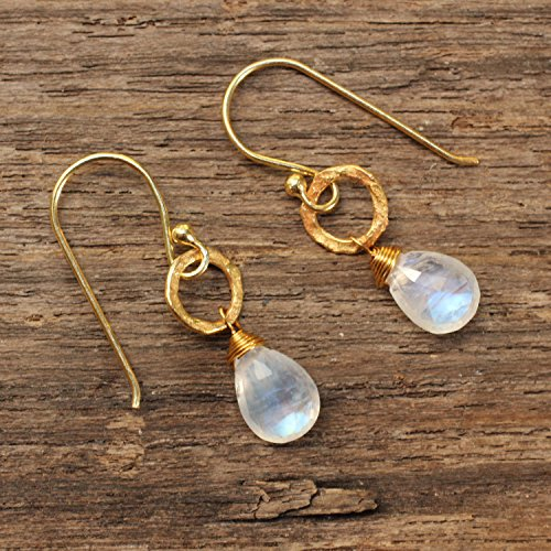 Sterling silver and brass earrings with moonstone dangle