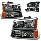 04 silverado headlight assembly - SPPC Black Headlights For Chevy Silverado and Avalanche Set (Pair) High/Low Beam Bulb Included