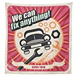 1950s Decor Tablecloth Auto Service Retro Poster We can Fix Anything! Mechanic Mechanical Transport Workshop art Design Dining Room Kitchen Rectangular Table Cover