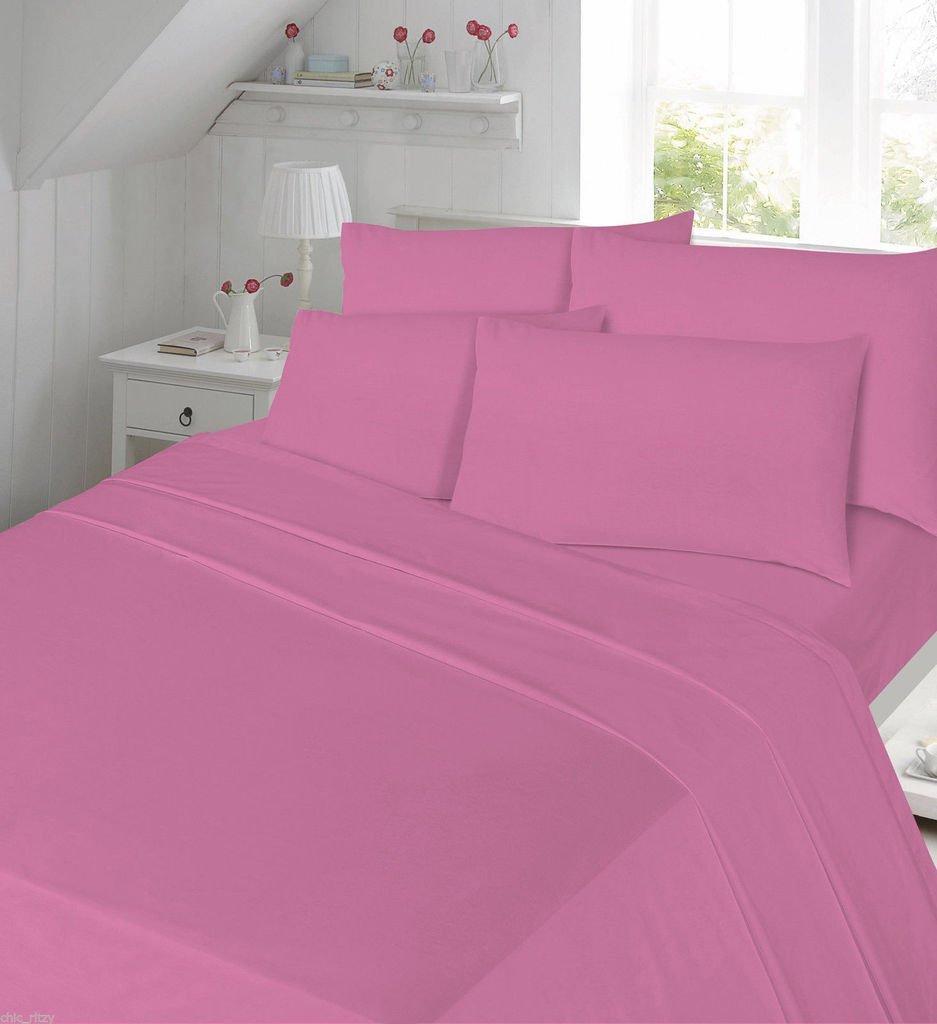 Percale Flat Sheets Non Iron Bed Sheets New Single Double King Size 180 Tread Count Plain Dyed High Quality Bedding (Aqua Flat Sheet, Double) De Lavish