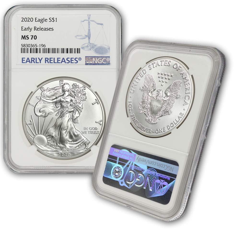 B08468577H 2020 Silver American Eagle MS-70 NGC (Early Releases) by CoinFolio $1 MS70 NGC 616Gj5NV3kL
