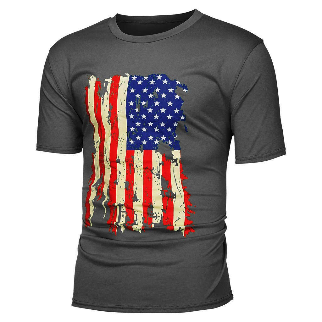 Mens Patriot Shirts,Summer Casual USA Flag Print Short Sleeve Sport Tee Shirts Blouse Han Shi