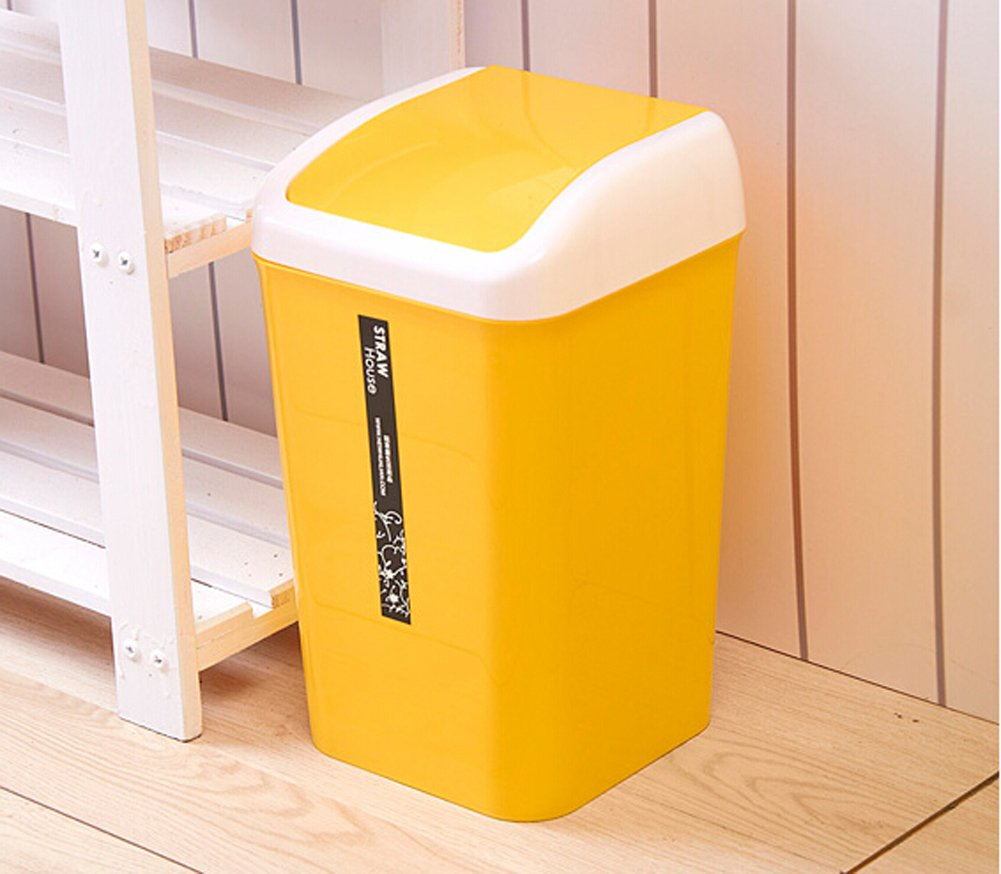 Awesome Amazon.com: Creative Kitchen Trash Can Trash Can Sitting Room Trash Bins  Bedroom Waste Container Bathroom Trash Can Toilet Small Trash Can (Yellow):  Home U0026 ...